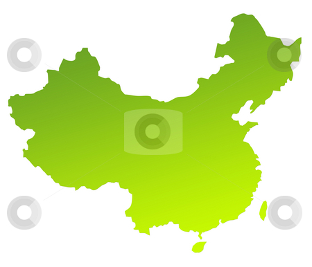 China map stock photo, Green gradient map of China isolated on a white background. by Martin Crowdy