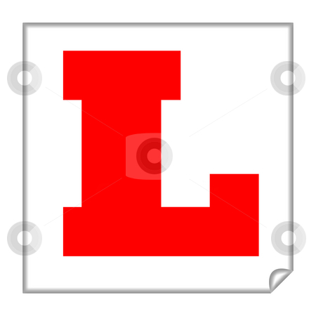 Learner sign stock photo, Driving learner sign or plate, isolated on a white background. by Martin Crowdy