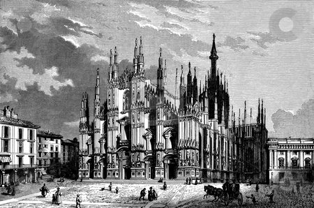 Milan Cathedral stock photo, Wood cut engraved illustration of Milan Cathedral. Published by G.F. Rodwell in book,