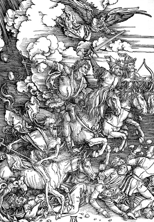 Horsemen of the Apocalypse stock photo, Woodcut engraving by artist Albrert Durer entitled,