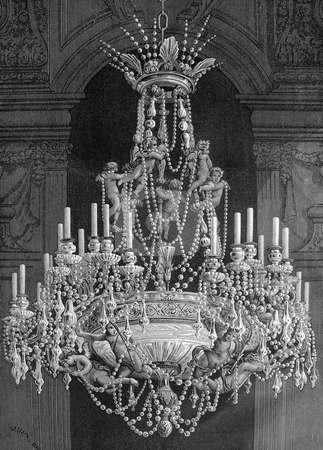 Chandlier stock photo, Engraving of old chandelier with angels by artist Louis Figuier. Published in book