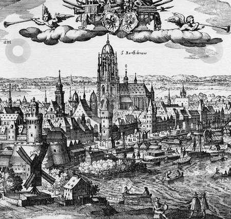 Frankfurt am Main stock photo, Engraving of Frankfurt am Main city, Germany. Original artwork dated 1617 by engraver Merian Matthaus. Public domain image by virtue of age. by Martin Crowdy