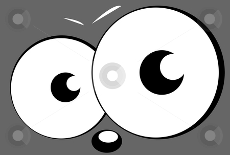 Cartoon eyes and face stock photo, Pair of cartoon eyes or eyeballs looking out of page, isolated on white background. by Martin Crowdy