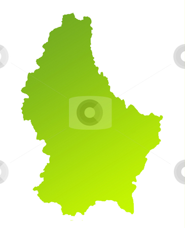 Luxembourg stock photo, Green gradient map of Luxembourg isolated on a white background. by Martin Crowdy