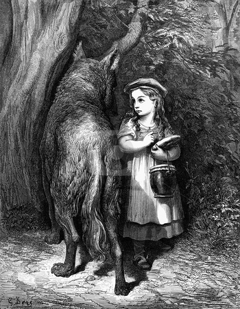 Little Red Riding Hood stock photo, Woodcut engraving of Little Red Riding Hood in forest with bad wolf. Origninal undated artwork by artist Gustave Dore, 1832-1883. Public domain image by virtue of age. by Martin Crowdy