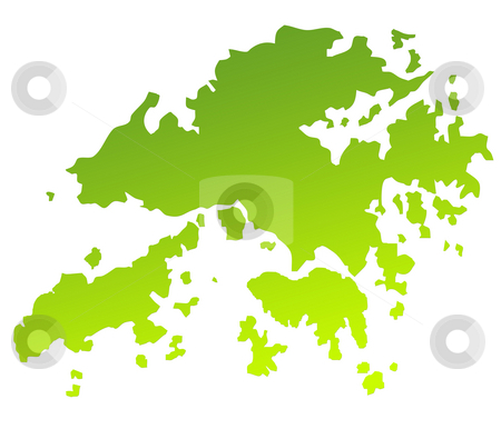 Hong Kong map stock photo, Green gradient map of Hong Kong isolated on a white background. by Martin Crowdy