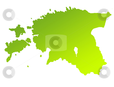 Estonia stock photo, Green gradient map of Estonia isolated on a white background. by Martin Crowdy