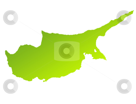 Cyprus stock photo, Green gradient map of Cyprus isolated on a white background. by Martin Crowdy