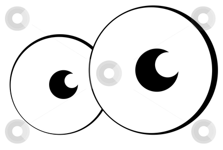 Cartoon eyes stock photo, Pair of cartoon eyes or eyeballs looking out of page, isolated on white background. by Martin Crowdy
