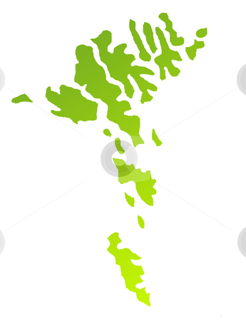 Faroe Islands stock photo, Green gradient map of Faroe Islands isolated on a white background. by Martin Crowdy