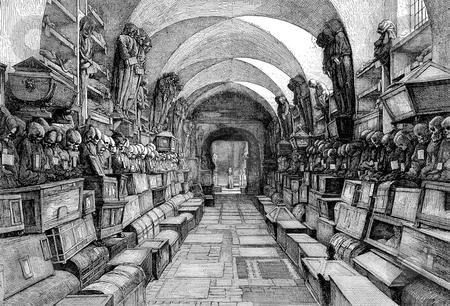 Capuchin catacombs of Palermo stock photo, Wood cut engraved illustration of Capuchin catacombs of Palermo, Sicily, Italy. Published by G.F. Rodwell in book,