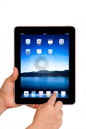 IPad tablet computer user hands stock photo