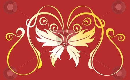 Flower pattern stock photo, Drawing of beautiful flower pattern in a red background by Su Li