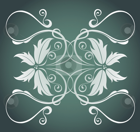 Butterfly pattern stock photo, Illustration drawing of beautiful white flower pattern in deep color background by Su Li