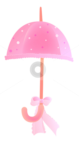 Umbrella stock photo, Drawing of beautiful umbrella with a pink bowknot by Su Li