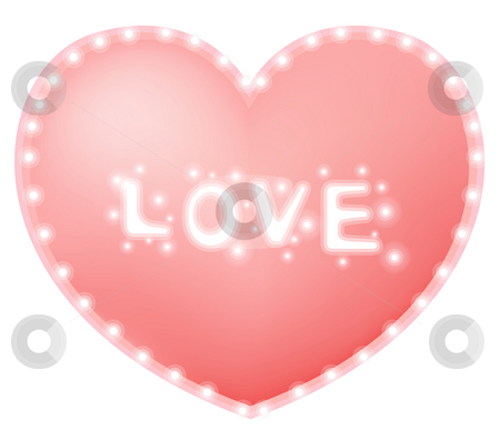 Heart stock photo, Drawing of beautiful pink heart with love word by Su Li
