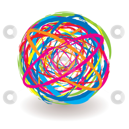 Elastic band icon stock vector clipart, Abstract elastic band icon ball with bright colored elements by Michael Travers