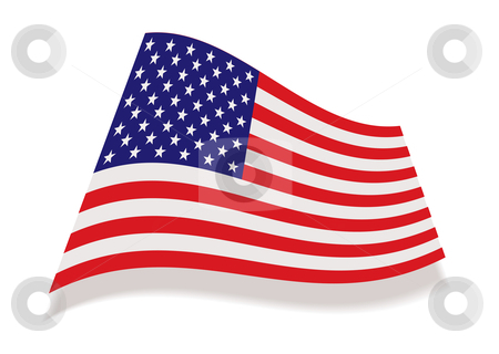 Usa stars and stripes flag stock vector clipart, American flag icon with stars and stripes and drop shadow by Michael Travers