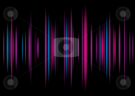 Equaliser purple background stock vector clipart, Music equaliser inspire colorful background illustration with graph bars by Michael Travers
