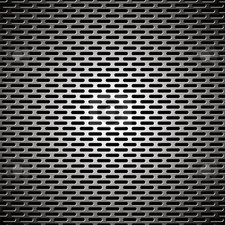 Slot grill metal background stock vector clipart, Silver metal background with elongated grill slots and light reflection by Michael Travers