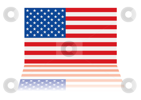 American flag reflection stock vector clipart, American us flag with red white and blue stars and stripes by Michael Travers