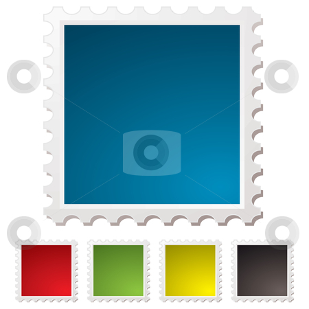 Blank stamp stock vector clipart, Illustrated blank stamps with perforated edges and drop shadow by Michael Travers