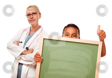 Female Doctor with Hispanic Child Holding Chalk Board stock photo, Female Doctor with Hispanic Child Holding Chalk Board Isolated on a White Background. by Andy Dean