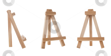 Mini easel stock photo, Three mini easels isolated on white background. by Homydesign