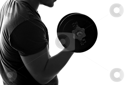 Man Lifting Weights stock photo, Back lit silhouette of a young man lifting weights in black and white. by Todd Arena