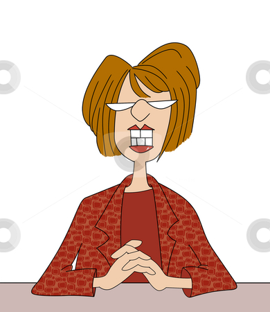 Smiling Office Lady With Big Teeth stock photo, Cartoon of Smiling Woman at Her Desk by Leslie Murray