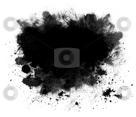 Black Spatter Grunge Background stock photo, Grunge background or copy space of black spatter and brush strokes isolated on white by Leslie Murray