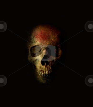 Scary Skull With Blood Spatter stock photo, Frightening skull with blood spatter grinning from the shadows by Leslie Murray