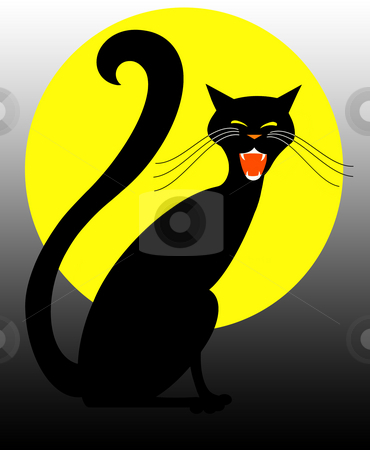 Halloween Black Cat Hissing in the Moonlight stock photo, Hallloween illiustration of a black cat with a full moon by Leslie Murray