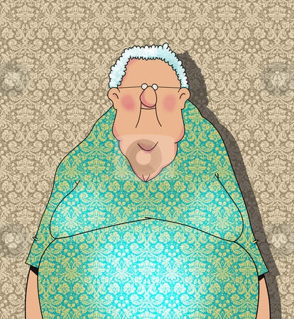 Happy Old Lady Cartoon stock photo, Funny Cartoon of a Happy Old Lady on Damask Wallpaper Background by Leslie Murray