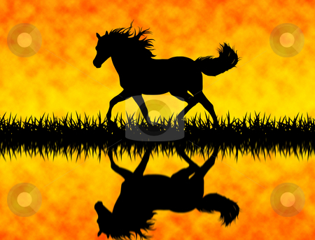 Horse stock photo, Running horse on grass silhouette by Ioana Martalogu