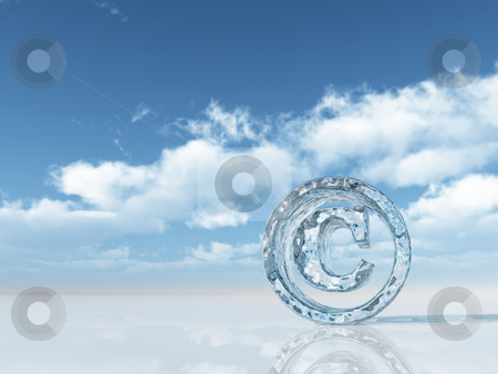 Copyright stock photo, Frozen copyright symbol under cloudy blue sky - 3d illustration by J?