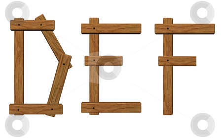 Wooden letters def stock photo, Wooden uppercase letters d, e and f on white background - 3d illustration by J?