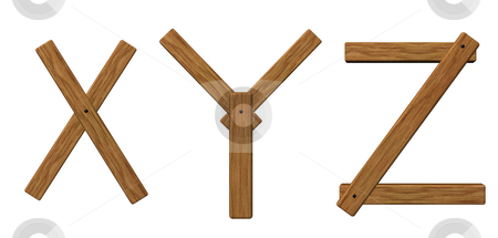 Wooden letters xyz stock photo, Wooden uppercase letters x, y and z on white background - 3d illustration by J?