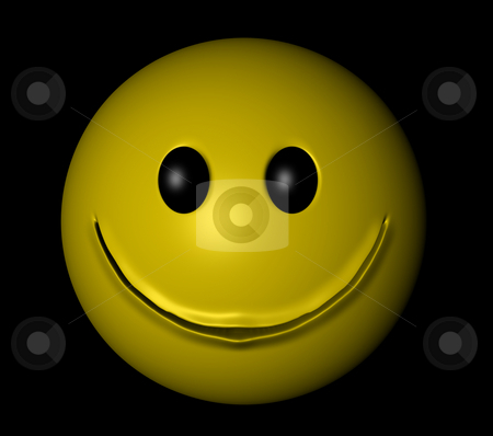 Smiley stock photo, Yellow smiley on black background - 3d illustration by J?