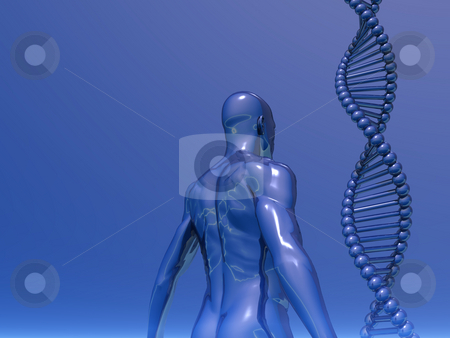 Genetic stock photo, DNA strands and human body on blue background - 3d illustration by J?