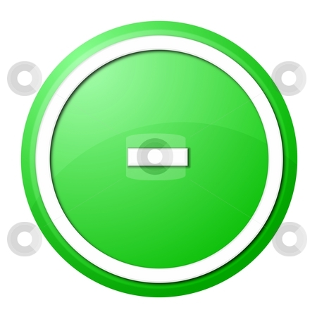 Green  Button Minus stock photo, Round minus button with white ring for web design and presentation by Henrik Lehnerer