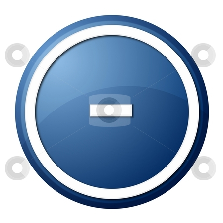 Blue Button Minus stock photo, Round minus button with white ring for web design and presentation by Henrik Lehnerer
