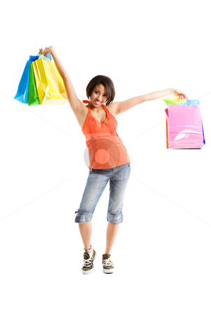 Shopping woman stock photo, An isolated shot of a black woman carrying shopping bags by Suprijono Suharjoto
