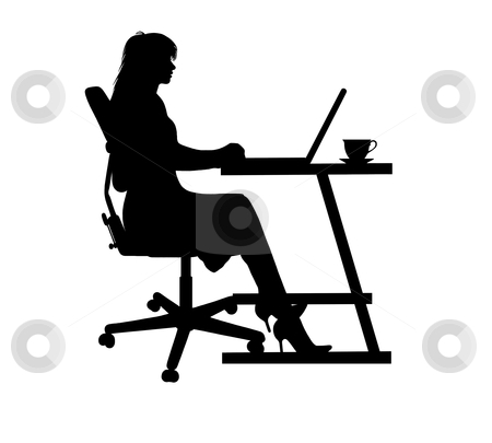 Woman stock vector clipart, Silhouette of a woman typing at a laptop by Ioana Martalogu