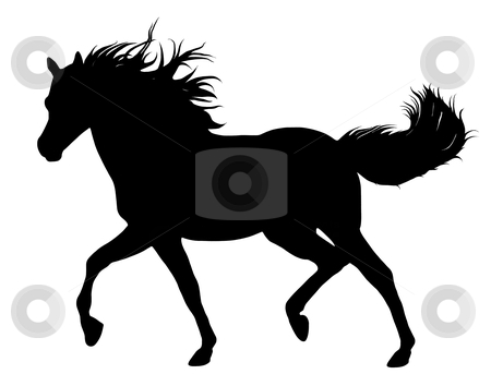 Horse silhouette stock vector clipart, Running horse silhouette isolated on white by Ioana Martalogu
