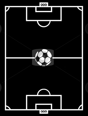 Soccer field stock vector clipart, Black and white soccer field by Ioana Martalogu