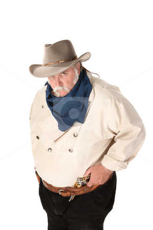 Big Tough Cowboy stock photo, Big tough cowboy with moustache and pistol in belt by Scott Griessel