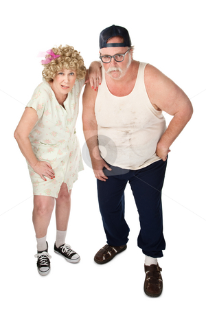 Curious Couple stock photo, Snickering older couple with dirty clothes on white background by Scott Griessel