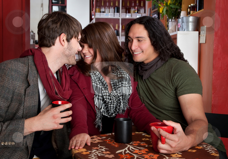 The Triangle stock photo, A complicated love triangle at a coffee house by Scott Griessel