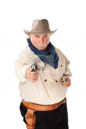 Cowboy on white background stock photo, Big cowboy pointing pistols on white background by Scott Griessel